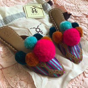 Figue Embroidered Pom Pom Mules